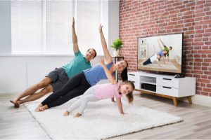 family working out indoor