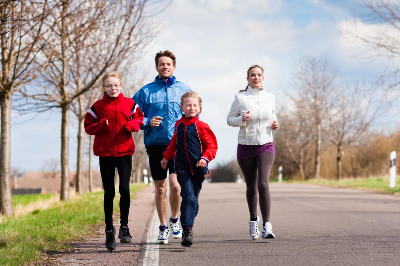 family running outdoor