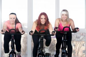 The ladies have a weekly exercise on the spin bike.